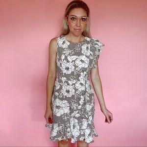 Charles Henry Dresses - Charles Henry Floral & Striped Design Ruffle Dress